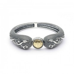 Silver Oxidised Celtic Raised Bangle with 18K Gold Bead