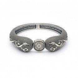 Silver Oxidised Celtic Raised Bangle