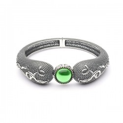 Silver Oxidised Celtic Raised Bangle with Green Glass Stone