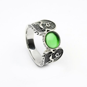 Silver Oxidised Celtic Ring with Green Glass Stone