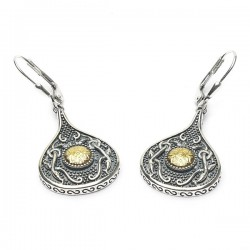 Silver Oxidised Celtic Teardrop Earrings with 18K Gold Bead
