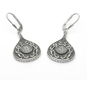 Silver Oxidised Celtic Teardrop Earrings