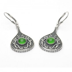 Silver Oxidised Celtic Teardrop Earrings with Green Glass Stone