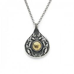 Silver Oxidised Celtic Teardrop Pendant with 18K Gold Bead