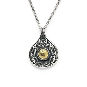 Silver Oxidised Celtic Teardrop Pendant with 18K Gold Bead