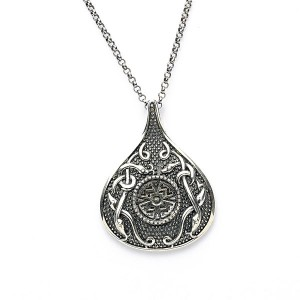 Silver Oxidised Celtic Teardrop Pendant