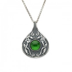 Silver Oxidised Celtic Teardrop Pendant with Green Glass Stone