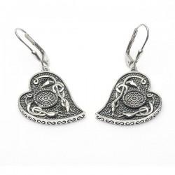 Silver Oxidised Celtic Heart Earrings