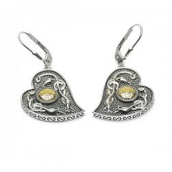 Silver Oxidised Celtic Heart Earrings with 18K Gold Bead