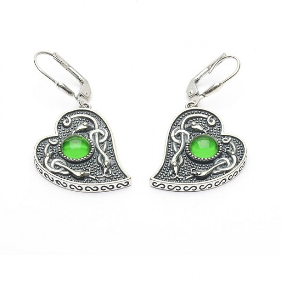 Silver Oxidised Celtic Heart Earrings with Green Glass Stone