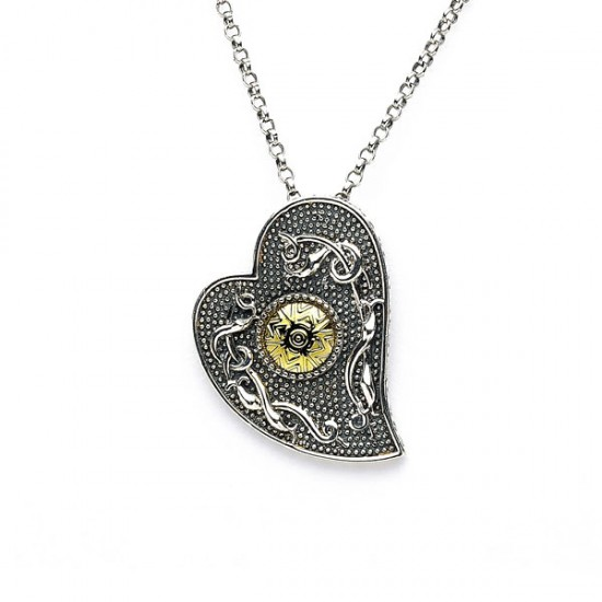 Silver Oxidised Celtic Heart Pendant with 18K Gold Bead