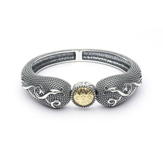 Silver Oxidised Celtic Raised Bangle with 18K Gold Bead