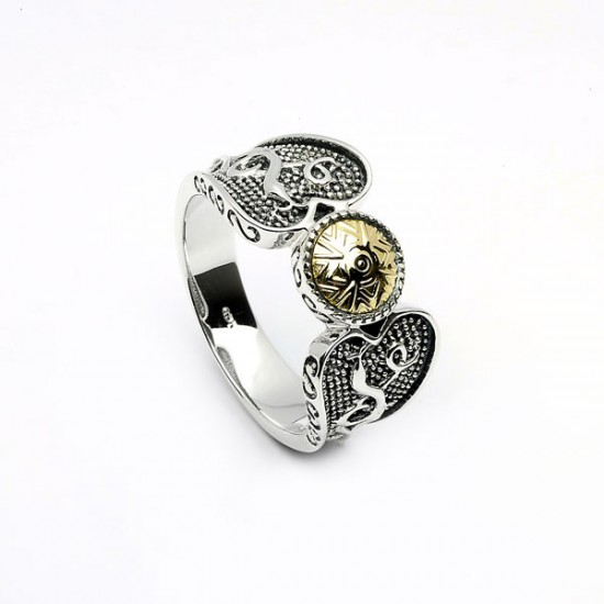 Silver Oxidised Celtic Ring with 18K Gold Bead