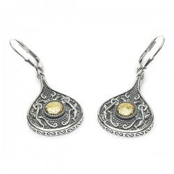 Silver Oxidised Celtic Teardrop Earrings with 18K Gold Bead