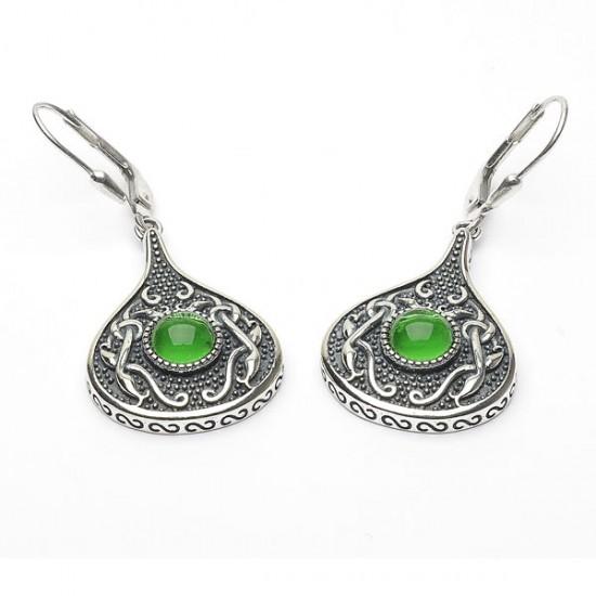 Silver Oxidised Celtic Teardrop Earrings with Green Glass Stone