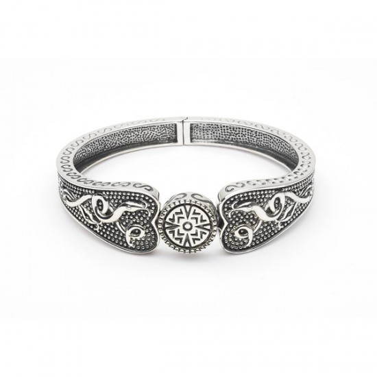 Silver Oxidised Celtic Wide Bangle