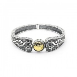 Silver Oxidised Celtic Wide Bangle with 18K Gold Bead