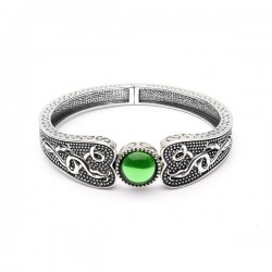 Silver Oxidised Celtic Wide Bangle with Green Glass Stone